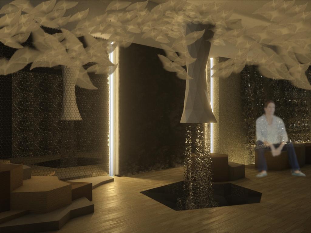 Da sinistra a destra: sedute produzione Akanto Design; pareti produzione Ixbond, Incontroardito, Domus Stone. Cascata d'acqua, vasca e soffioni Mioblu Special Wellness. design by Silvio De Ponte | DPSA+D