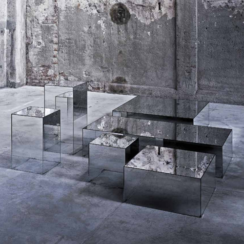 Glas-Italia-Illusion-Occasional-Side-Table-Mirrored Glass Side Table Designer Jean Marie Massaud