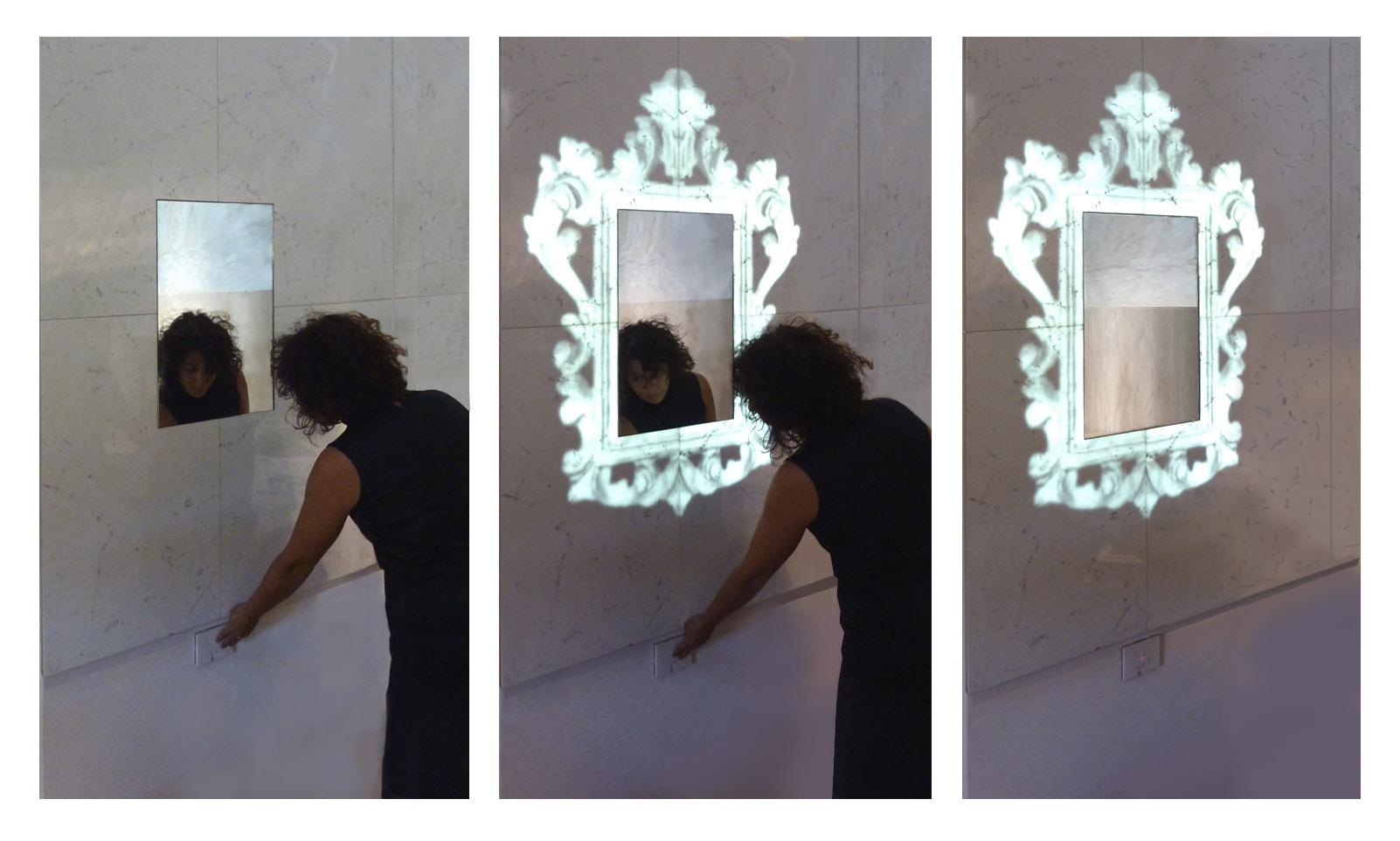 Hisia Controversa, specchio da incasso a parete Paolo Ulian