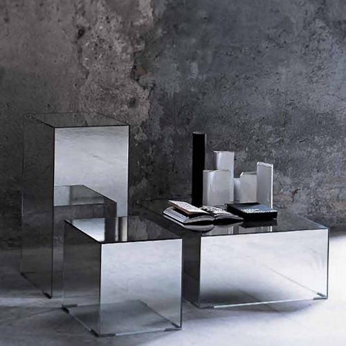 Mirrored Glass Side Table Designer Jean Marie Massaud