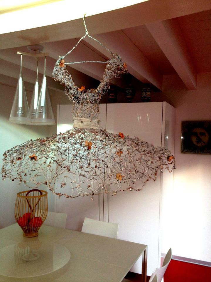 La Danseuse. Collezione Privata. A.Danieli. Elvezia Allari Filo di ferro cotto, foglia d'oro 24k Abito/scultura pezzo unico