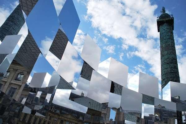 Arnaud Lapierre Designs a Cubic Mirror Installation in Place Vendome
