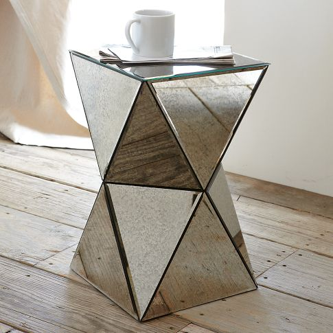 Faceted Mirror Side Table