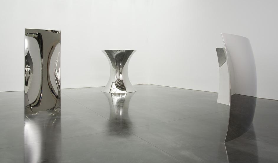 Anish Kapoor (from left to right) - Non Object (Door), 2008 | Non Object (Pole), 2008 | Vertigo, 2008. Photo by David Regen. Courtesy the artist and Barbara Gladstone Gallery