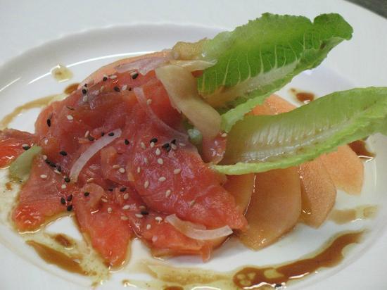 trota salmonata affumicata melone zenzero e soia