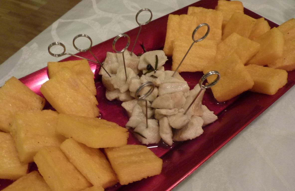 polenta grigliata con salmerino