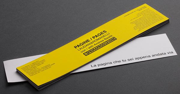 Pages/Pagine (Edizioni Corraini 2014 Mantova), segnalibri Laudani-Romanelli