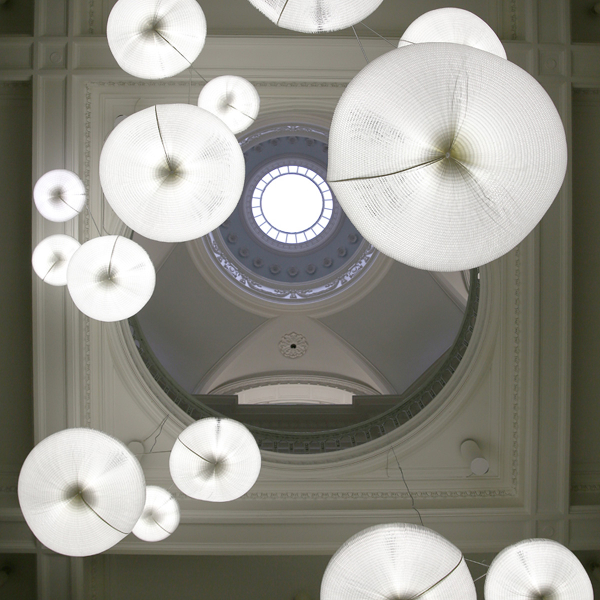 molo makes a custom installation of cloud softlight mobiles for the exhibition Grand Hotel at the Vancouver Art Gallery