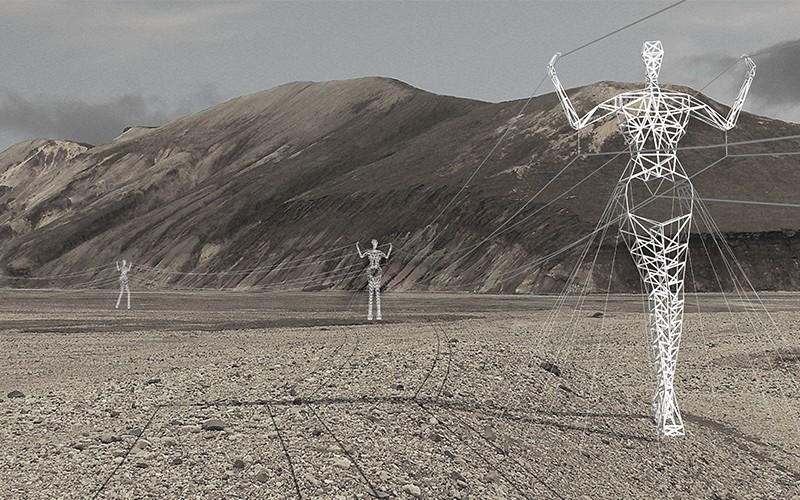 Choi+Shine ArchitectsThe Land of Giants trasforma i tralicci elettrici in statue inserite nel paesaggio