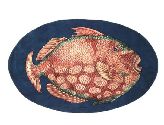 In lana e seta, il tappeto Pesce. 265x167 cm