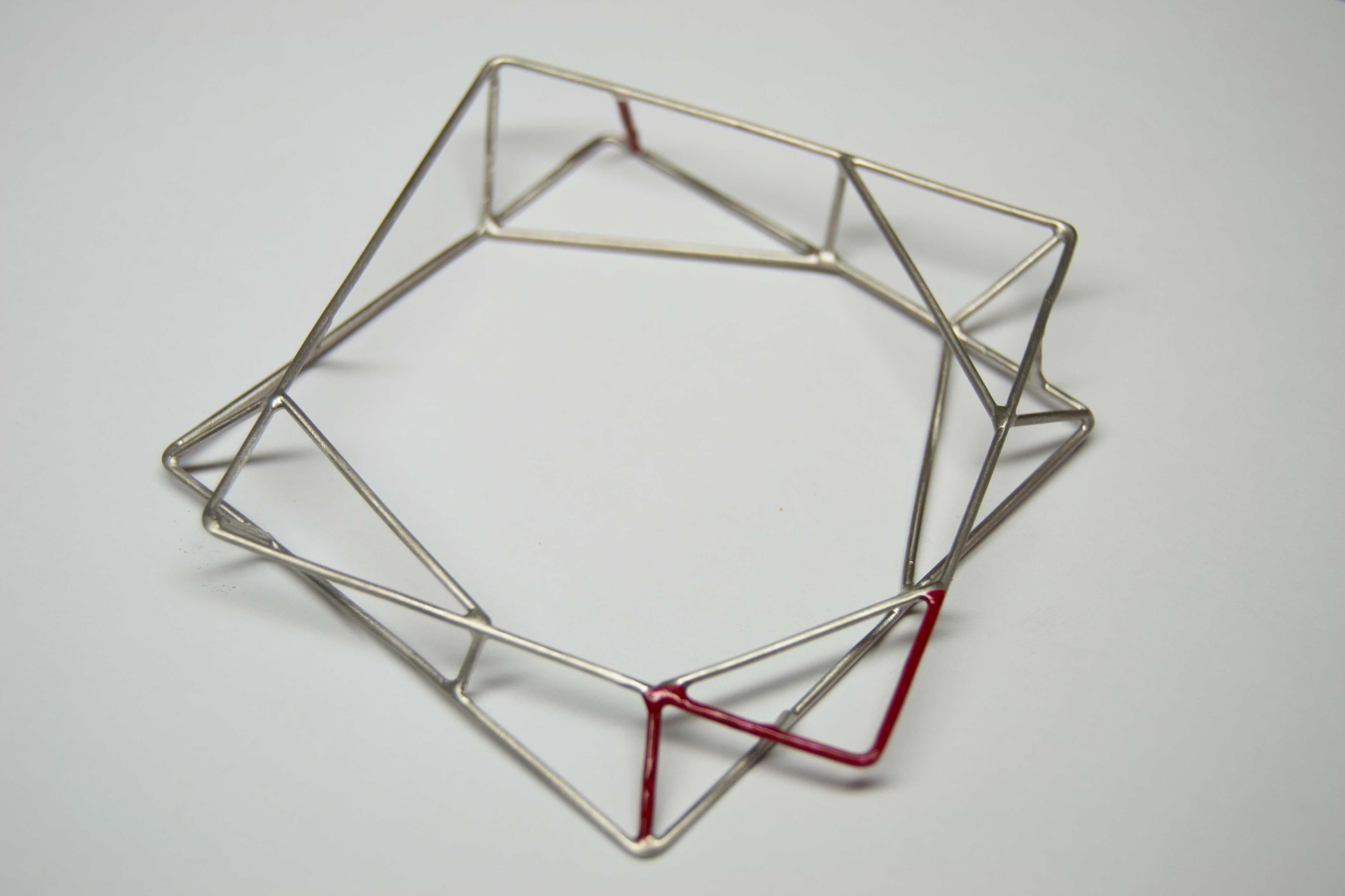 Geometrici Incontri 2016 bracciale argento e pittura acrilica